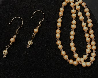 Golden hue double strung hand beaded bracelet and earring pearl and swarovski crystal set