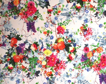 Exquisite Colorful Viney Floral Print Stretch Cotton Sateen Fabric--by the Yard