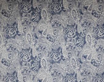 White on Blue Denim Paisley and Floral Print Stretch Cotton--By the Yard