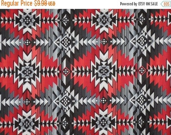 ON SALE Gray and Red Southwest Blanket Print Pure Cotton Fabric--One Yard