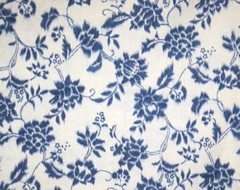 Indigo Blue on Cream Floral Design Indigo Summer Natsu Print Pure Cotton Fabric--By the Yard