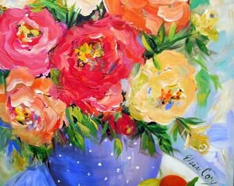 Polka Dot Vase is an original painting 20 x 24Fine Art by Elaine Cory