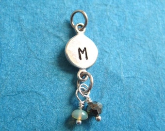 Sterling Silver Alphabet Letter  Initial Charm Dangle with 2  Precious Stones