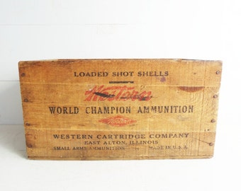 Western World Champion Ammunition 1940s Wooden Crate, Shipping Crate for Shotgun Shells, Wooden Box