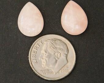 ROSE QUARTZ (33672)  * * *  PAIR (2 Gems) Medium Pink 14 x 10mm Rose Quartz Pear / Drop Cut Cab / Cabochon