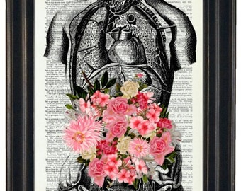 BOGO 1/2 OFF Anatomy Illustration with Flowers  A HHP Original Design Anatomy Art Dictioanry Prints