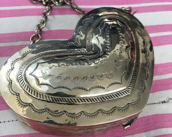 Adorable Heart Shaped Silver Tooled and Etched Metal Shoulder Bag Fred Harvey era Style