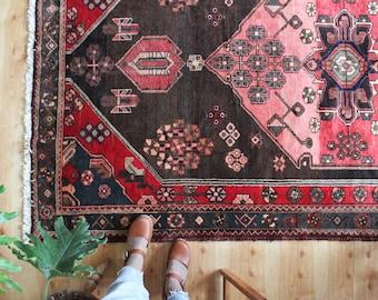 "8' 7"" x 4' 9"" vintage Persian rug, rustic geometric faded Zanjan rug, happy worn bohemian earthy colorful area rug"