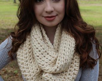 Chunky Crocheted Cream Beige Infinity Scarf
