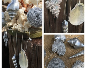 Coastal Beach Ornaments- Silver Coated Sea Life Ornament Christmas, Sea Shells, Coral Christmas Decor Home Decorating/ Coastal Christmas