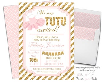 tutu baby shower invitation tutu baby shower invite ballerina baby shower tutu invitation
