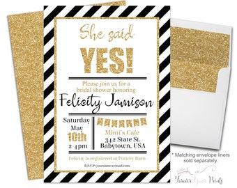 BLACK AND GOLD Bridal Shower Invitation - Bridal Shower Invite - Engagement Invitation - Engagement Party - Bridal Invitation - She Said Yes