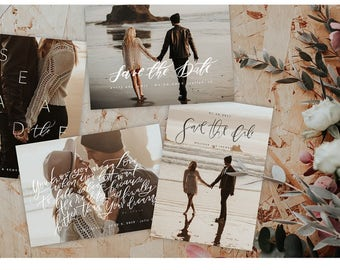 Scripted Save the Date Cards    INSTANT DOWNLOAD