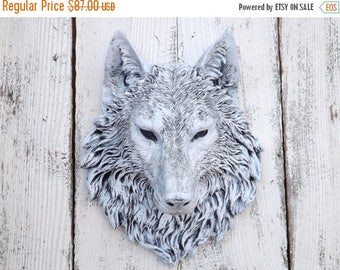 SPRING SALE Wolf Head // Wolf Decor // Choice Color // Native American Decor // Wolf Wall Sculpture // Faux Animal Head // Faux Taxidermy