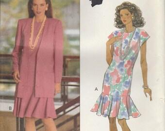 Easy Dress Pattern Dropped Waist Loose-fitting Jacket 1992 Misses Size 12 - 14 - 16 uncut Butterick 5987