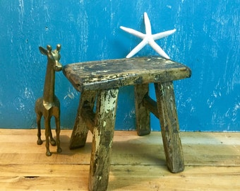 Vintage Chinese Step Stool Rustic Footstool Bench Country Farmhouse Beach House Decor at CastawaysHall - Ready to Ship