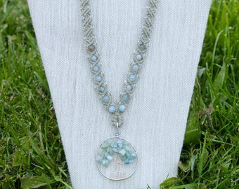 Aquamarine Tree Of Life hemp necklace, macrame, micromacrame, hippie, music festivals, wire wrap, nature, gypsy, bohemian