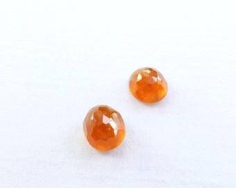 Natural Spessartite Garnet Microfacet Rose Cut Cabochon. Red  Orange. Micro Facet. Oval. 1 pc. +/- 1.3 cts. 6x5 mm (GA1009)