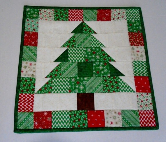 Christmas Tree Table Runner Quilt Pattern: Christmas Quilted Table Topper Winter Christmas Quilted