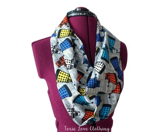 Dr. Who Dalek Infinity Scarf (2 sizes - child or adult) circle scarf, mommy and me matching, doctor who scarf, dalek, dr who gift, whovian