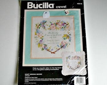 "Bucilla Crewel Kit  Heart Wedding Record Vintage Kit 40518 Do It Yourself Kit Designed by Nancy Rossi  14"" X 14"""