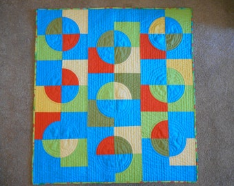 That '70s Quilt unique modern quilted wall hanging