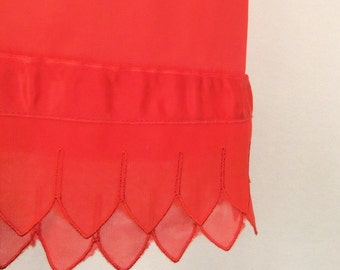 Vintage 50's 60's Half Slip Red Nylon with Double Scalloped Chiffon Hem and Ribbon Trim Size XS / S
