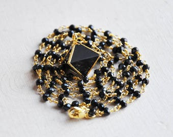 Black Onyx Necklace, Onyx Necklace, Y Necklace, Lariat Necklace, Long Necklace, Black Necklace, Rosary Necklace, Pyramid Necklace, Black
