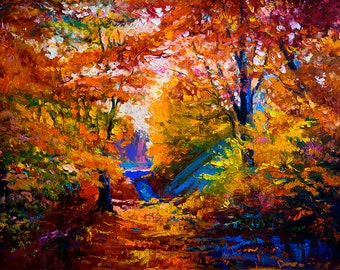 """SALE Oil Landscape painting Abstract Original Modern 26"""" palette knife Fall Trees oil impasto oil painting by Ivailo Nikolov"""