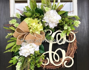 BEST SELLER! Spring Wreaths for Front Door, Front Door Wreath, Monogram Door Wreaths, Hydrangea Wreaths, Grapevine Wreath, Farm House Wreath