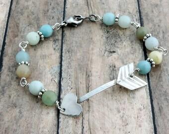 Silver Arrow Bracelet - Beaded Bracelet - Sterling Silver Bracelet - Heart Bracelet - Amazonite Bracelet - Arrow Jewelry - Pastel Bracelet