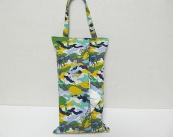 Hanging Tissue Box Cover For Skinny Kleenex/Animal In Camouflage/Green and Yellow