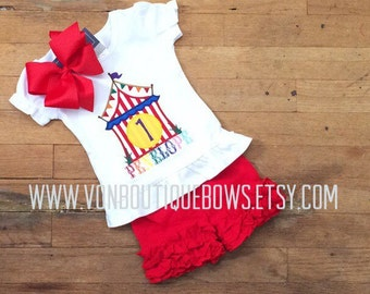 Big Top Circus birthday Icing Shorts Boutique Bow red Yellow Polka Dot Applique 1st 2nd 3rd 4th 5th outfit