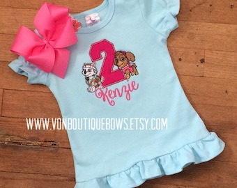 Sky Everest puppy bow Personalized Boutique Number Birthday First 1st 2T 3 4 5 6 8 Girls Applique Short Long Sleeve Shirt Tank Top flutter