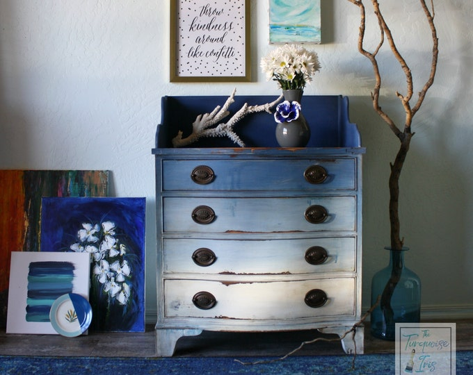 Boho Blue Ombre Chest - Coastal Shades of Blue Vintage Accent Table / Storage / End Table / Antique Solid Wood Nightstand