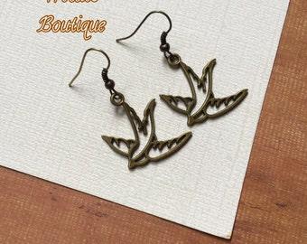 Swallow Bird Earrings- Antique Bronze Bird Earrings