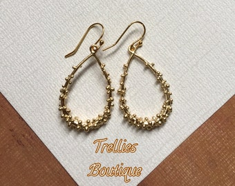 Gold Teardrop Earrings- Matte Gold