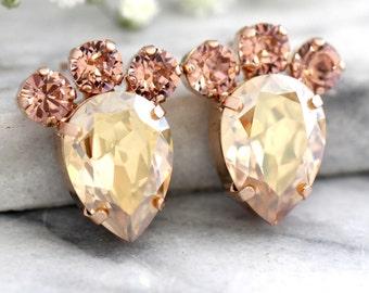 Champagne Earrings, Swarovski Stud Earrings, Blush Champagne Earrings, Bridesmaids Earrings,Christmas Gift For Her,Bridal Champagne Earrings