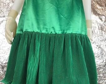 Vintage Green Satin 1980's Skirt w/ Pleated Ruffled Bottom