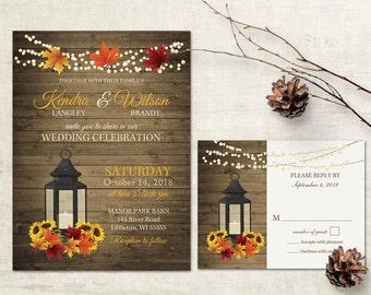 Rustic Fall Wedding Invitation Set Printable Rustic Sunflowers Fall Leaves Wedding Metal lantern Country Wedding + rsvp DIY Digital Template