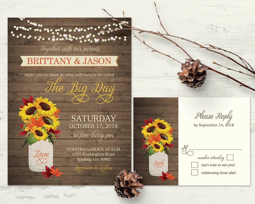 Rustic Fall Wedding Invitations: Rustic Fall Wedding Invitations Set Sunflower Fall Leaves