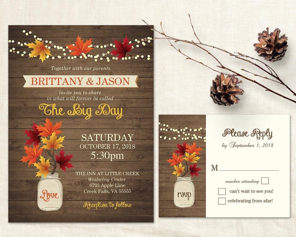 Fall Wedding Invitations Rustic Mason Jar Country Wedding