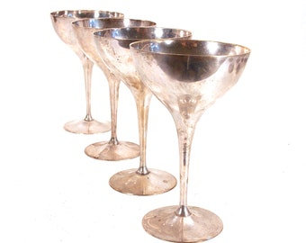 Leonard Silver Co Silver Plated Wine Goblet, Chalice, Long Stemmed Metal Cups, Wedding Toast, Centerpieces