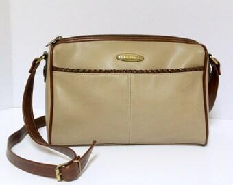 Tan Leather Liz Claiborne Purse with Pretty Braiding Detail - Vintage 1990s - Great Condition
