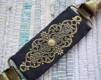 Steampunk metal filigree on fabric dress clip, garment clip, shirt clip, jacket clip, vest clip, cinch for the back of the waist