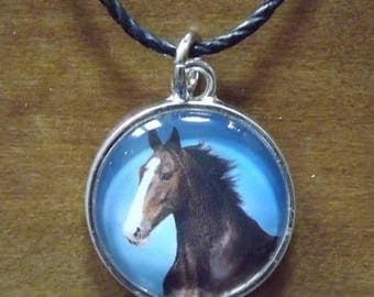 Brown Horse With White Blaze Pendant Handsome Equine Portrait Photo Under Glass Jewelry