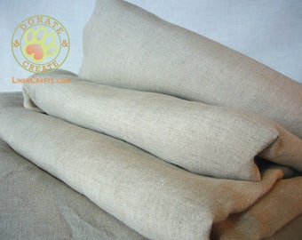 Pure linen fabric remnants Sale! European linen flax out cuts for DIY crafts & decoration; Light yet firm, high quality, taupe natural linen