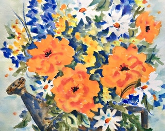 Watercolor Flowers, Garden Flowers, Garden Water Can, Spring Flowers, Orange and Blue,Watercolor Daisies, Watercolor Bouquet, Martha Kisling