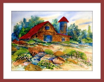 Watercolor Collage of Country Barn Field Flowers by Colorado Artist Martha Kisling