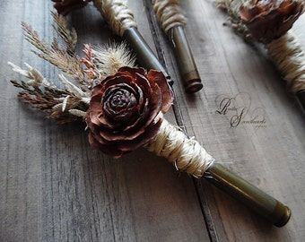 Rustic Bullet Casing Boutonniere with Cedar Rose
